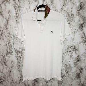 Etro Italy White Polo Paisley Collar Men's XL